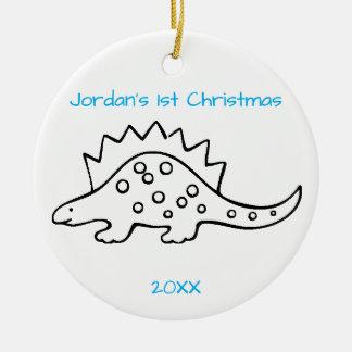 Stegosaurus-Weihnachten Rundes Keramik Ornament