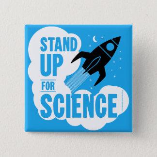 Stehen Sie oben für Wissenschaft Rocket Quadratischer Button 5,1 Cm