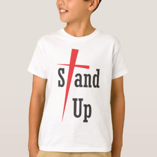 Stehen Sie oben - schwarzen Text T-Shirt