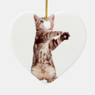 Stehende Katze - Kitty - das Haustier - Keramik Herz-Ornament