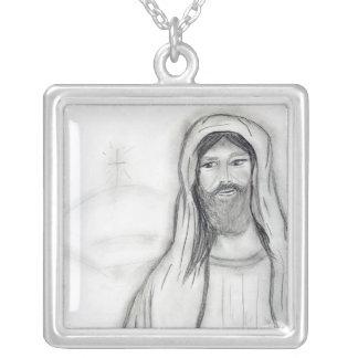 Stehender Jesus Versilberte Kette