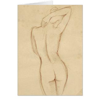 Stehender Nude-weibliches Zeichnen Karte