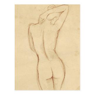 Stehender Nude-weibliches Zeichnen Postkarte