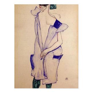 Stehendes Mädchen Egon Schiele- in einem Blauen Postkarte