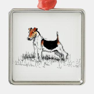 Stehendes stolzes Fox-Terriers Silbernes Ornament