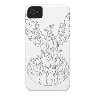 Steigende brennende Flammen Schwarzweiss-Drawin Case-Mate iPhone 4 Hüllen