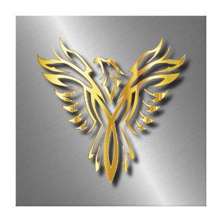 Steigende goldene Phoenix-Goldflammen mit Schatten Leinwanddruck