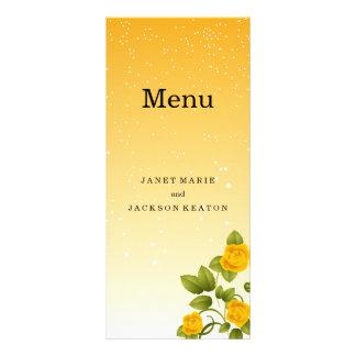 Steigungs-gelbes Blumenhochzeits-Menü Werbekarte