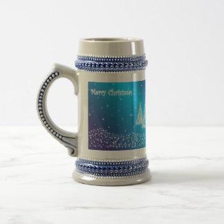 Stein Blau der frohen Weihnachten Bierglas