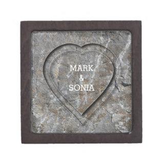 Stein geschnitzte Herz Braut und Bräutigam Schachtel