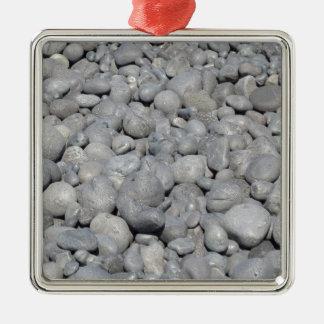 Stein Quadratisches Silberfarbenes Ornament