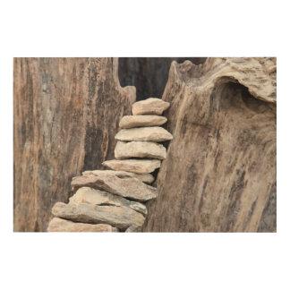 Stein und Holz (vertikal) Holzleinwand