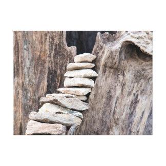 Stein und Holz (vertikal) Leinwanddruck
