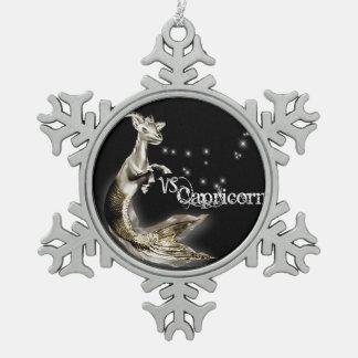 Steinbock-Verzierung Schneeflocken Zinn-Ornament
