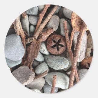 Steine und Stockzusammensetzung Runder Aufkleber