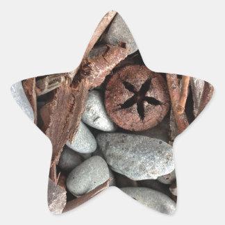 Steine und Stockzusammensetzung Stern-Aufkleber