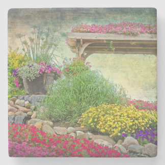 Steingarten mit Gitter Steinuntersetzer
