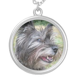 Steinhaufen-Terrier-Hundehalskette, Geschenkidee Versilberte Kette