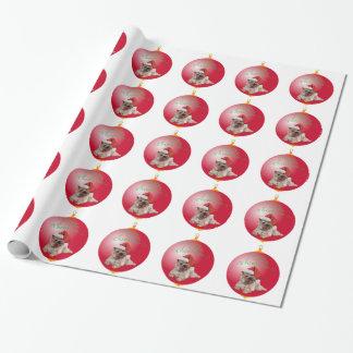 Steinhaufen-Terrier-Weihnachtsverzierungen Geschenkpapier