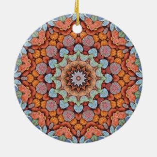 Steinige Weg-bunte Verzierungen Rundes Keramik Ornament