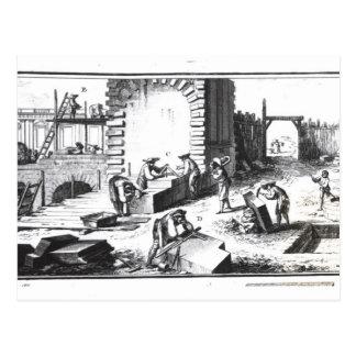 Steinmetze bei der Arbeit, graviert durch Lucotte Postkarte