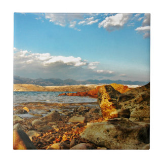 Steinstrand auf der Insel Pag in Kroatien Fliese
