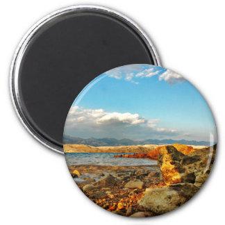 Steinstrand auf der Insel Pag in Kroatien Runder Magnet 5,1 Cm