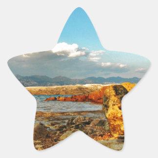Steinstrand auf der Insel Pag in Kroatien Stern-Aufkleber