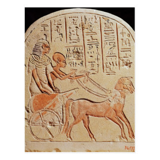 Stela, das einen Schreiber fährt einen Chariot Postkarte