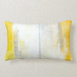 """""""Stellen"""" grau und gelbes abstraktes Kunst-Kissen Zierkissen"""