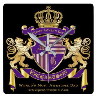 Stellen Sie Ihr eigenes Wappen Quadratische Wanduhr
