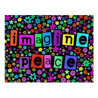 Stellen Sie sich Friedenspostkarte vor Postkarte