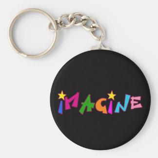 Stellen Sie sich in der bunten Beschriftung vor Schlüsselanhänger
