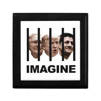 Stellen Sie sich Trumpf, McConnell und Ryan hinter Geschenkbox