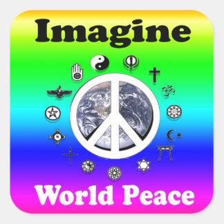 Stellen Sie sich Weltfrieden vor Quadratischer Aufkleber