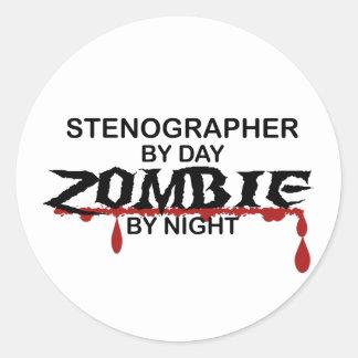 Stenograf-Zombie Runder Aufkleber
