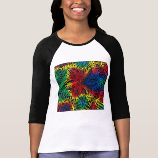 Stern-Blumen-Regenbogen T-Shirt