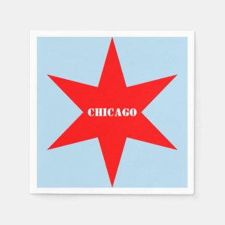 Stern Chicago-Flaggen-6-Pointed mit Papierserviette
