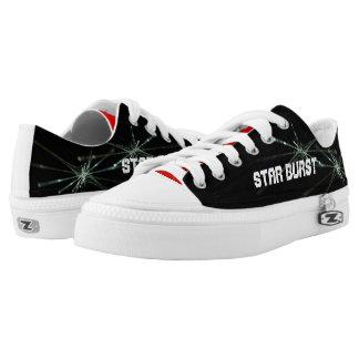 Stern-Explosions-Turnschuh-Schwarz-rotes Grau Niedrig-geschnittene Sneaker