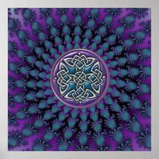Stern-FraktalMandala mit metallischem keltischem Posterdruck