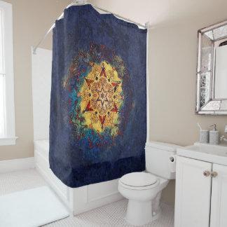 Stern-Glanz-Gold und blauer Duschvorhang