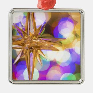 Stern-Glitzer Quadratisches Silberfarbenes Ornament