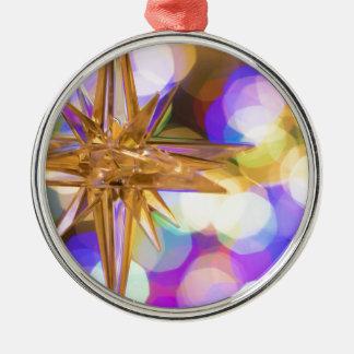 Stern-Glitzer Rundes Silberfarbenes Ornament