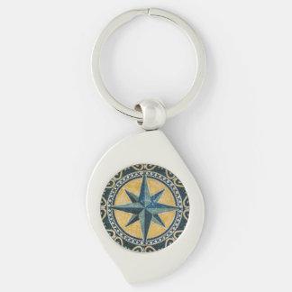 Stern-grüner Kompass-rundes Medaillon-Mosaik Schlüsselanhänger