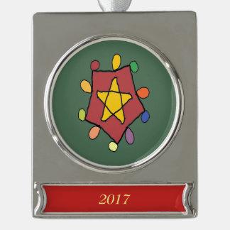 Stern in den Lichtern Banner-Ornament Silber