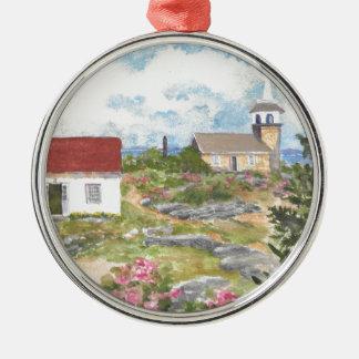 Stern-Insel-Raum-Ansicht eine Ansicht an der Insel Rundes Silberfarbenes Ornament