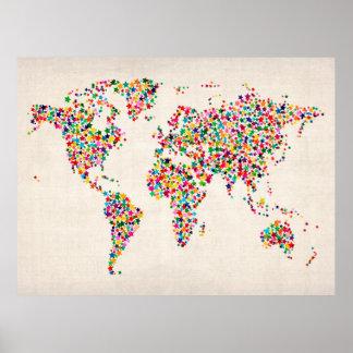 Stern-Karte der Weltkarte Poster