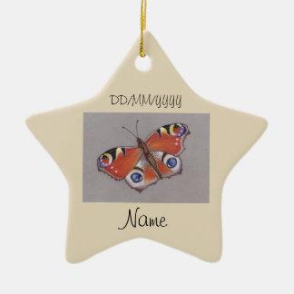 Stern-Keramik-Verzierung mit Pfau-Schmetterling Keramik Ornament