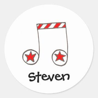 Stern-musikalische Anmerkung Runder Aufkleber
