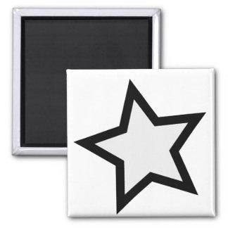 Stern - mutiges B&W Quadratischer Magnet